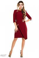Бордовое платье с запахом юбки на золотой цепочке