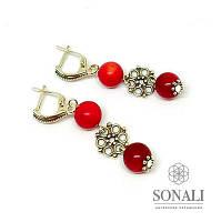 Серьги с красным кораллом и серебром