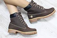 Зимние натуральные кожаные ботинки Timberland  36