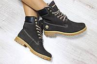 Зимние натуральные замшевые ботинки Timberland  37