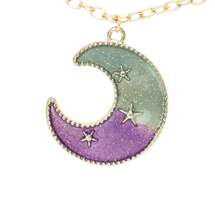 Подвеска кулон полумесяц луна в цвете эмаль сиреневая