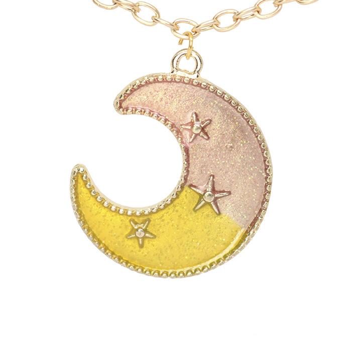 Подвеска кулон полумесяц луна в цвете эмаль желтая