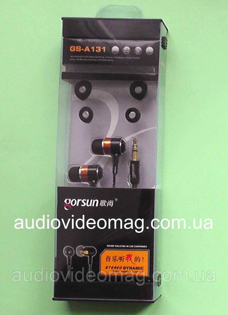 Наушники Gorsun GS-А131 вакуумные, прочная тканевая оплётка шнура