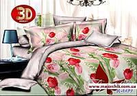 Комплект 3д постельного белья 2-спальный Тюльпаны
