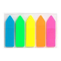 Закладки пластиковые неонового цвета Delta D2450-02, стрелки, 12х45 мм, 125 штук