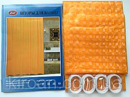 Оранжевая штора для ванной виниловая 180х180