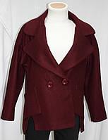 Пальто весеннее короткое, приспущенный рукав, бордовое, фото 1