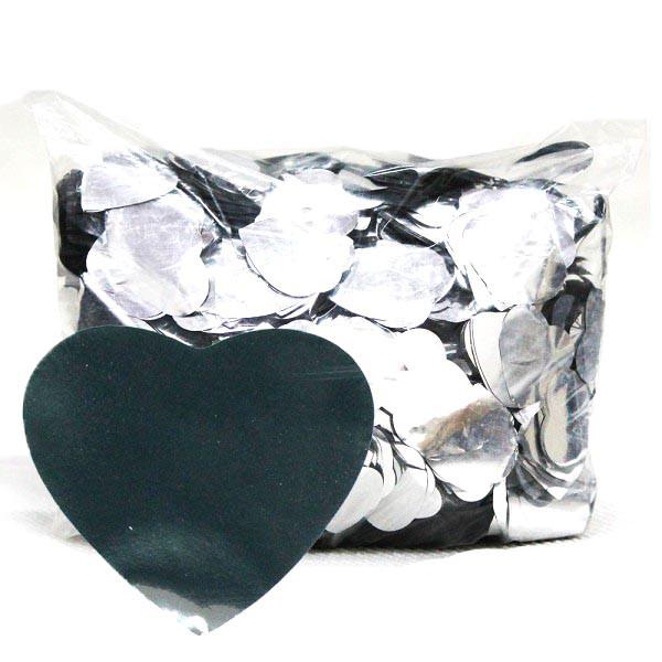 Конфетти сердечки серебро. Размер: 35мм. Вес:250гр.