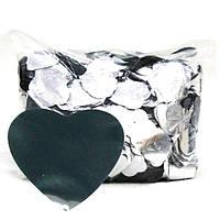 Конфетти сердечки серебро.Размер: 35мм. Вес:50гр.