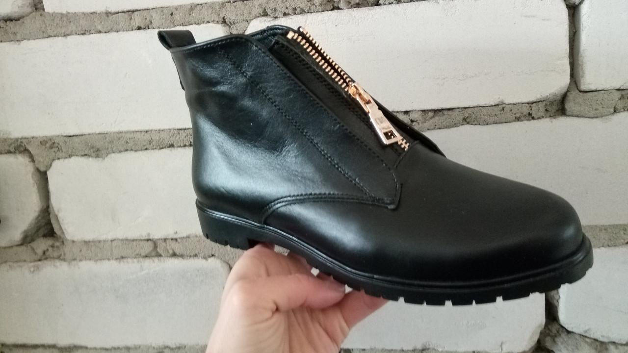 Женские демисезонные ботинки натуральная кожа черный
