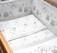 """Постельный набор  в кроватку """"Сова клiтинка""""  с балдахином"""