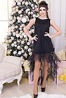"""Асимметричное комбинированное платье """"SONET"""" с оборкой"""