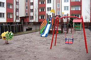 Детские качели одинарные со спинкой на цепях , фото 2