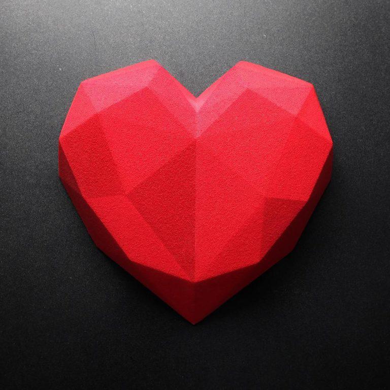 Силиконовая форма для евродесертов Сердце Оригами