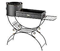Мангал кованый садовый с печью для казана со съемными коробом (сталь 2мм) и боковой полкой М42