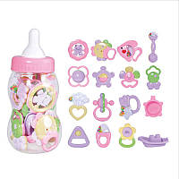 Набор Погремушек, грызунов, пропезывателей для малышей 16 штук в колбе (коробочке бутылочке) 34 см, 2828