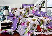 Комплект постельного белья 2-спальный евро сатин Хризантемы, фото 1