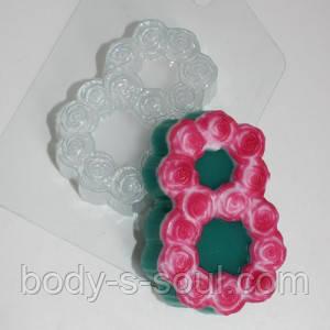 Пластиковая форма для мыла 8 марта/розы