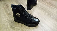 Женские демисезонные ботинки в стиле РР натуральная замша черный, фото 1