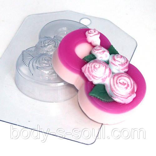 Пластиковая форма для мыла 8 марта/розы по диагонали