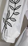 Рубашка блузка женская удлиненная под пояс, белая с черной вышивкой, рубашечный коттон, Турция, фото 7