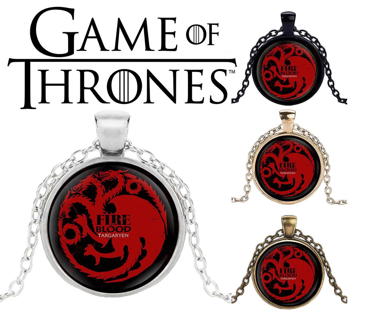 Подвеска стеклянная Game of Thrones Игра Престолов с гербом Таргариенов