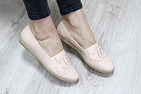 Балетки-эспадрильи кожаные Chanel бежевые 40
