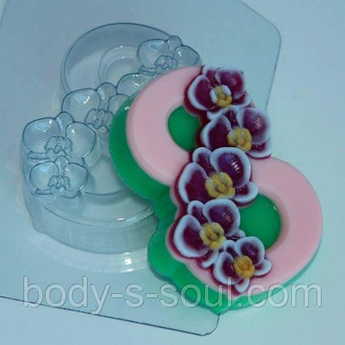 Пластиковая форма для мыла 8 марта орхидеи по диагонали