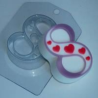 Пластиковая форма для мыла 8 марта сердечки по диагонали