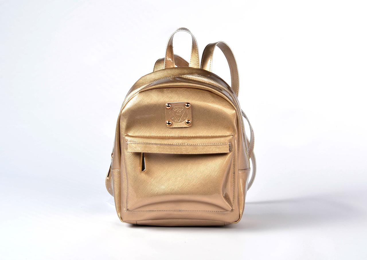 Рюкзак женский из качественного кожзама золото 3Д