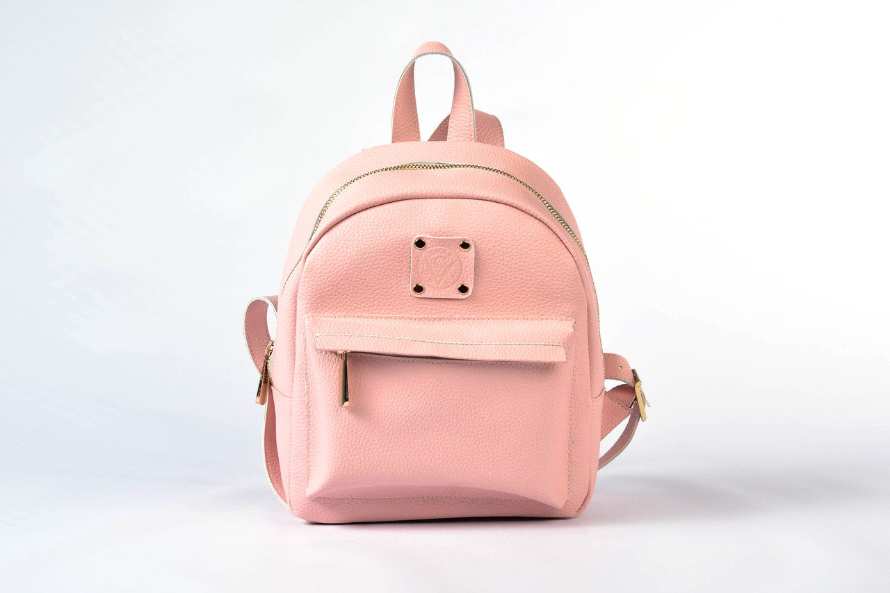 Рюкзак женский из качественного кожзама розовый матовый