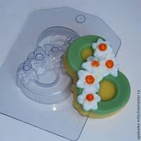 Пластиковая форма для мыла 8 марта нарциссы по диагонали