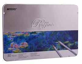 Набор цветных карандашей Marco Raffine 50 цветов в металлический пенал 7100-50TN