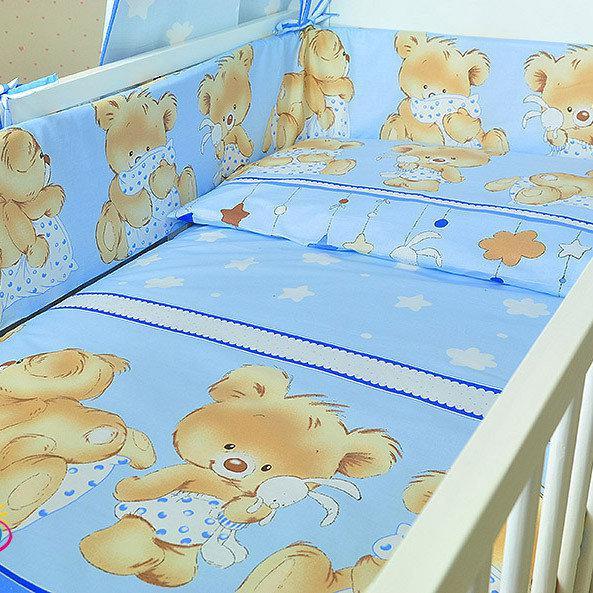 Комплект постільної білизни в дитячу ліжко Ведмедик з подушкою блакитний з 3 елементів (МАЛЕНЬКИЙ ПІДОДІЯЛЬНИК)