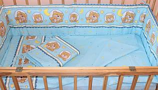 Комплект постельного белья в детскую кроватку Мишка в круге голубой  из 3 элементов (МАЛЕНЬКИЙ ПОДОДЕЯЛЬНИК)
