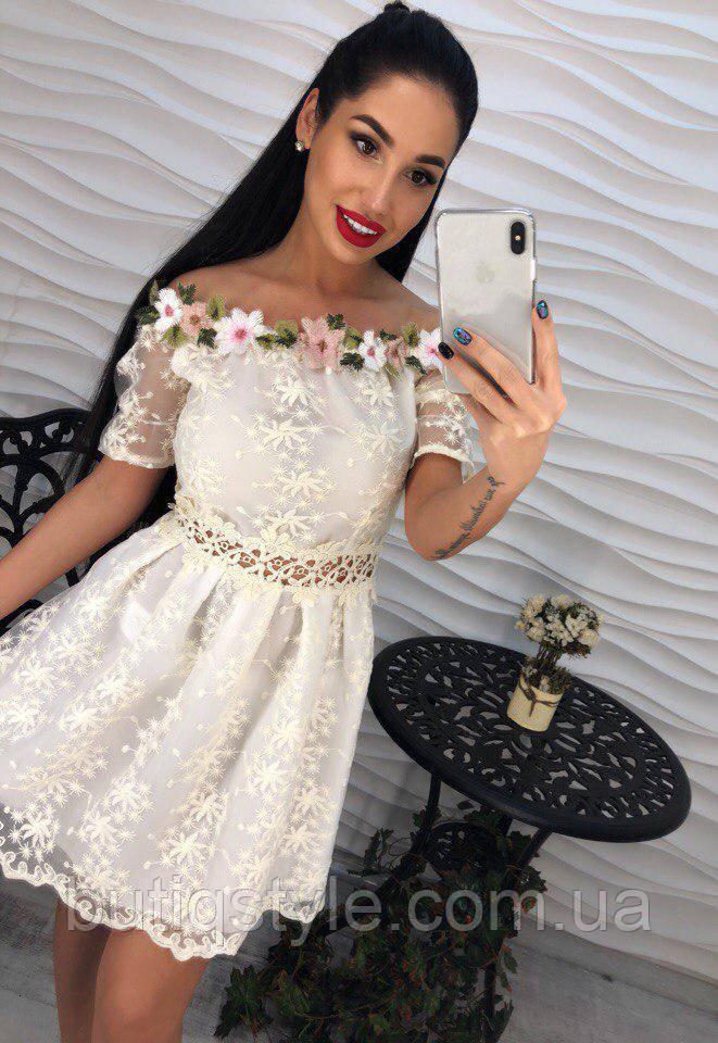 Красивое нежное женское платье креп-шифон с объемной аппликацией, гипюр только белое