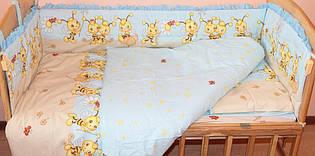 Комплект постельного белья в детскую кровать Пчелки голубой  из 3 элементов (МАЛЕНЬКИЙ ПОДОДЕЯЛЬНИК)