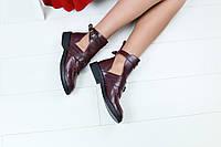 Женские ботинки, кожаные, бордовые, на ремнях, на байк