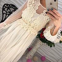 Шикарное женское платье миди шифон  и дорогое кружево молоко, пудра, васильковый