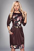 Платье женское мод 442-4 ,размер 52 темно коричневая роза