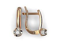 Золотые серьги с бриллиантом D = 2.5