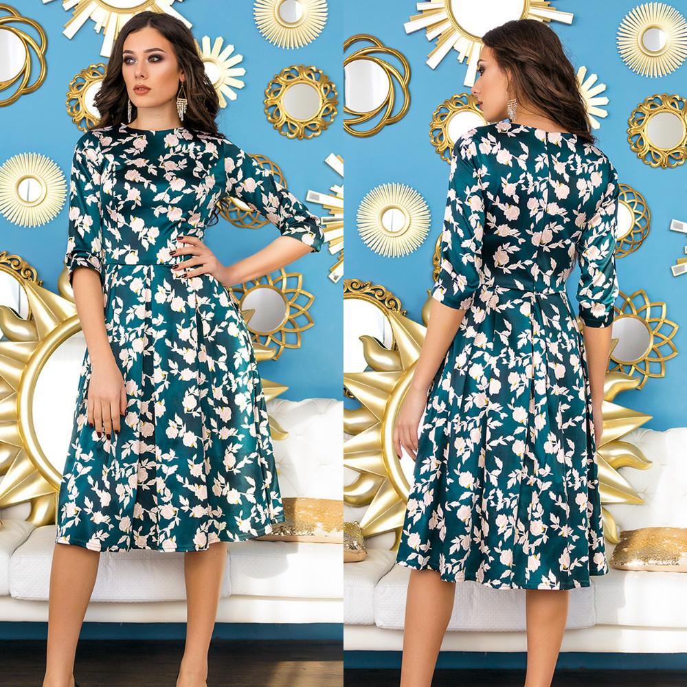 Романтическое атласное платье миди с клешенной юбкой в ретро стиле