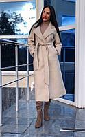 Элегантное женское пальто кашемир с поясом белое. беж