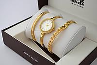 Часы женские - ANNE KLEIN и 2 браслета, золотистый корпус, фото 1