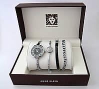 Женские часы - ANNE KLEIN и 3 браслета, серебристый корпус, фото 1