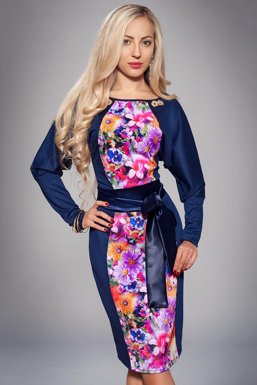 Платье женское модель №213-6,р-р 52 цветы