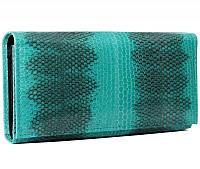 Женский кошелек из натуральной кожи морской змеи бирюзовый