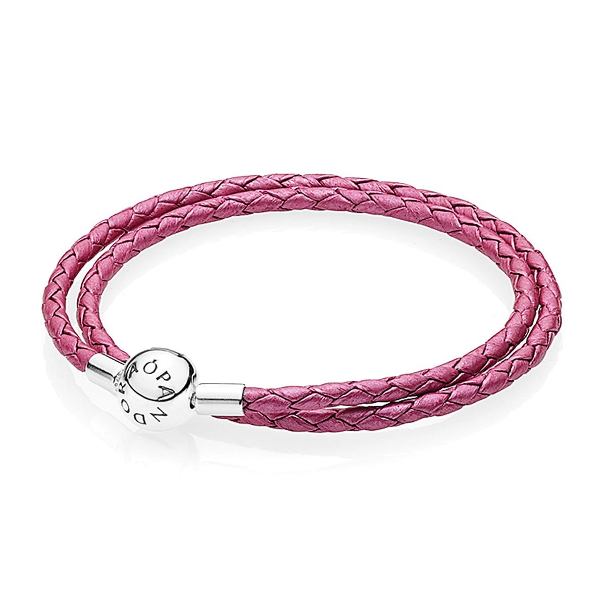 Двойной кожаный браслет малиновый в стиле Pandora