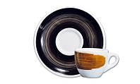 Блюдце Ancap для серий Verona / Torino / Roma Millecolori, ручная роспись, цвет черный (ø12 см)