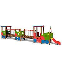 Деревянный Паровозик Локомотив с двумя вагончиками